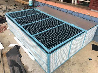 Bể khung lót bạt HDPE của bác Trần Minh Trung