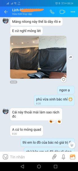 Bạt phủ đồ chống bụi tại căn hộ chung cư Mr Lịch Hà Nội